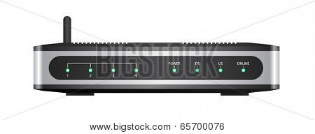 Wireless router isolated on white background with clipping path