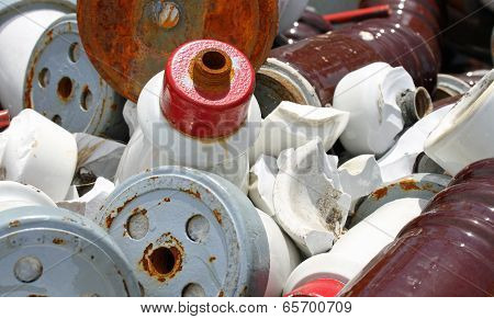 Pieces Of Iron And Ceramic Electrical Insulators