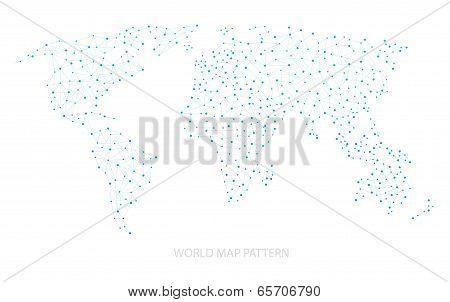 Blue World Map Dot Pattern Vector