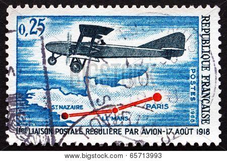 Postage Stamp France 1968 Letord Lorraine Bimotor Plane