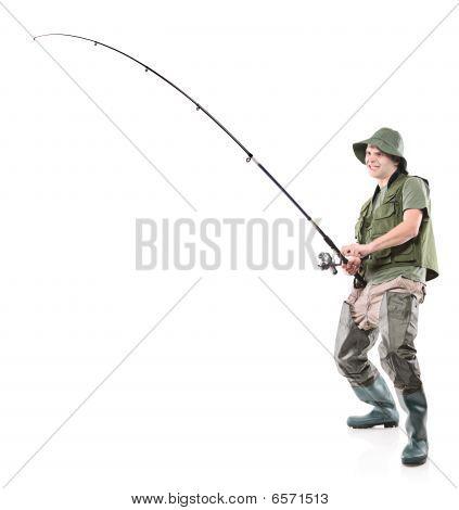Young euphoric fisherman