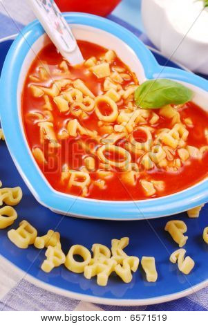 Tomato Soup With Pasta For Child