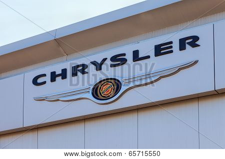 Samara, Russia - May 24, 2014: Chrysler Automobile Dealership Sign. Chrysler Group Llc Is An America