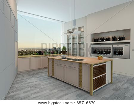 Modern apartment kitchen interior with wall units and shelving and a central island overlooking a large wall length view window