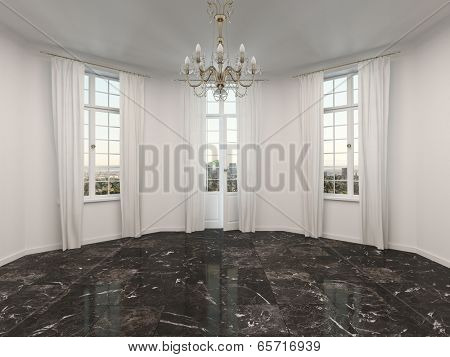 Empty room with a marble floor and alcove windows with floor length white drapes, low angle view