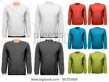 Colorful male long sleeved shirts. Design template. Vector.