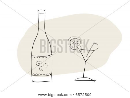 Handdrawn bottle and coctail glass
