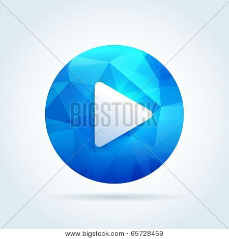 Play media button icon with triangle abstract pattern