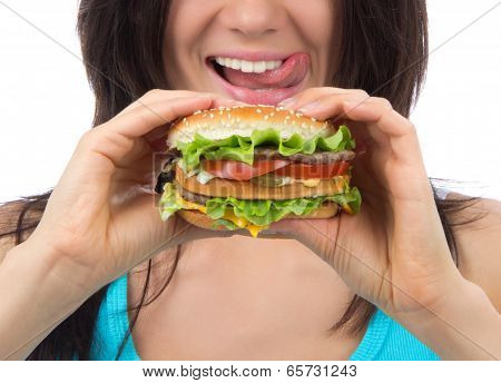 Fast Food Concept. Tasty Unhealthy Burger Sandwich