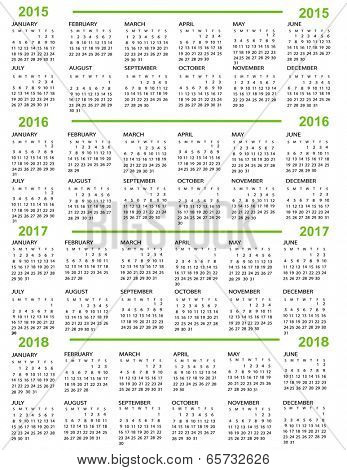 Calendar, New Year    2015, 2016, 2017,  2018 with green lines