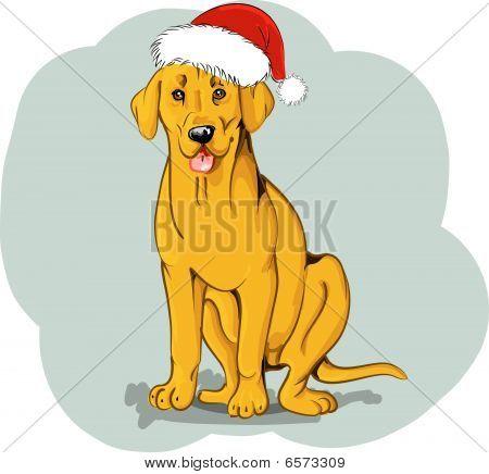 labrador dog in a santa claus hat poster