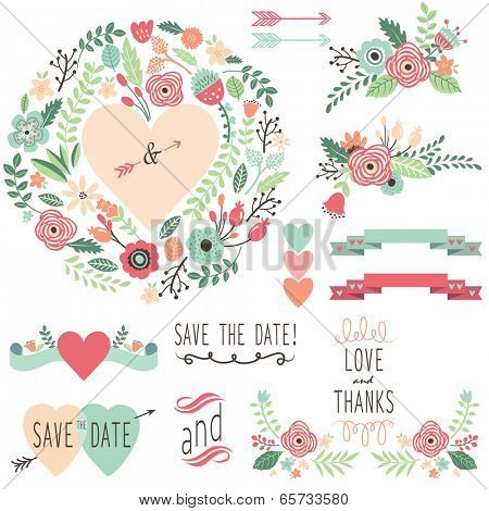 Vintage Wedding Flora design element- illustration