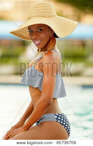 Stock image of a woman at the pool