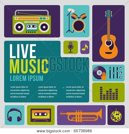 Music infographic and icon set of instruments and data, graphs, text