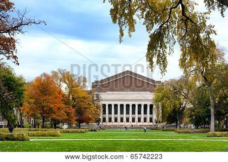 Historic Northrop Auditorium On The Campus Of The University Of Minnesota In Autumn