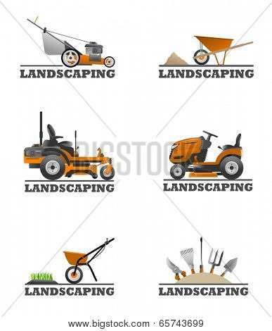 An illustration of Landscaping equipment and tools