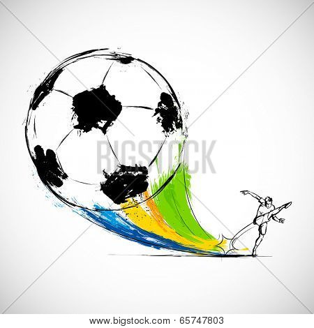 illustration of player kicking soccer ball in Football background