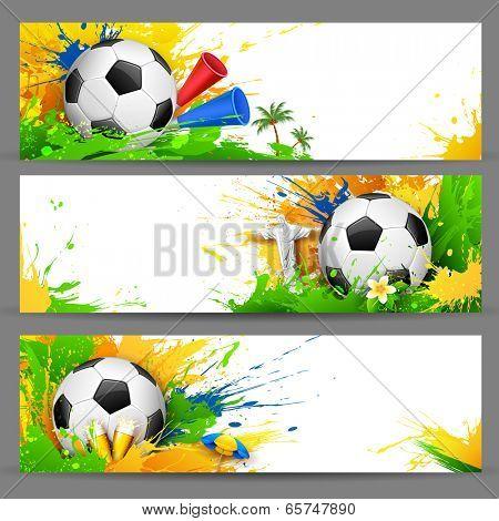 illustration of soccer ball in Football banner