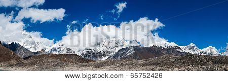 Himalayas Panorama With Mountain Peaks And Everest Summit