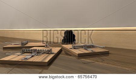 Three Mousetraps Outside A Hole