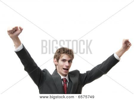 Happy Man with arms up in air isolated on white poster