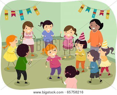 Illustration of Kids Playing Limbo Rock