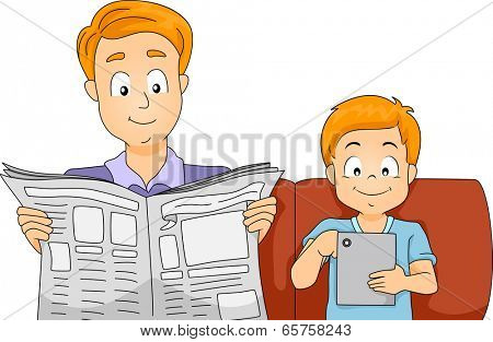 Illustration of a Father and Son Reading the Latest News on a Newspaper and a Computer Tablet