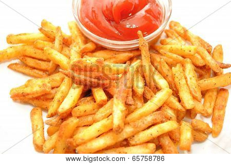 Seasoned French Fries Served With Ketsup