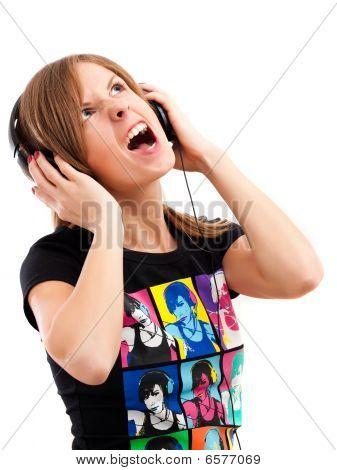 Girl Yelling Song Wih Headphones