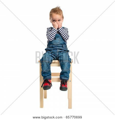 Kid Making Odor Gesture Over White Background