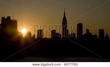Manhattan Skyskrapers silouettes