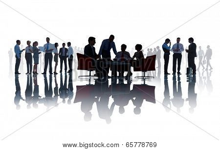 Group of business people discussing in a white background.