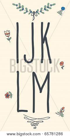 Hand drawn sketch alphabet. Handwritten font.