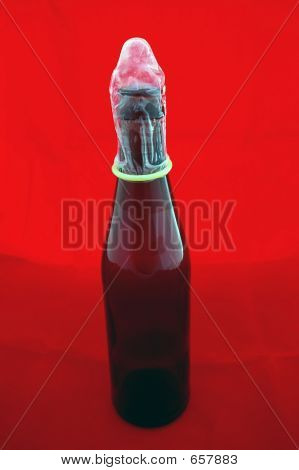 Condom On Beer Bottle