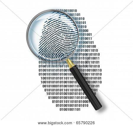 Magnifying Glass Over Finger Printlike Shape Made Of Binary Code