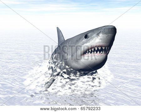 poster of Shark going out of water as to attack