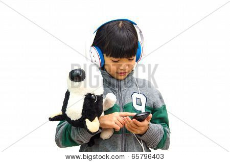 Girl Listens Attentively To The Music.