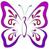 Symbolical butterfly with opened wings, monochrome pictogram. Vector poster