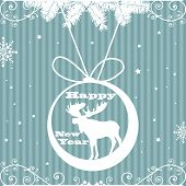 Abstract colorful background with blue stripes, snowflakes, fir branches and a moose decoration hanging from above. New Year postcard theme poster