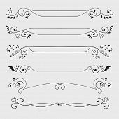 Vintage black curl text dividers isolated on white. Vector illustration poster