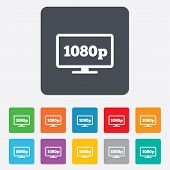 Full hd widescreen tv sign icon. 1080p symbol. Rounded squares 11 buttons. Vector poster
