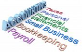 Row of personal and small business accounting services poster