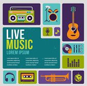 Music infographic and icon set of instruments and data, graphs, text poster