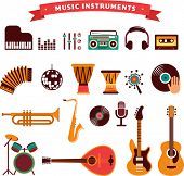 musical instruments, vector illustrations flat icons and elements set poster