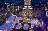christmas market on berlin gendarmenmarkt at night poster