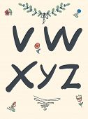 Hand drawn sketch alphabet. Handwritten font. Isolated in white background. Letters, uppercase poster