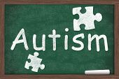 Learning about Autism Autism written on a chalkboard with chalk poster