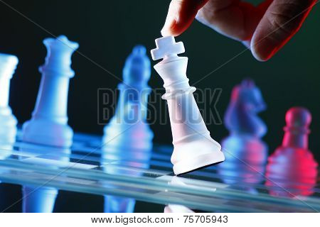Finger tilting a chess piece on Chess Board