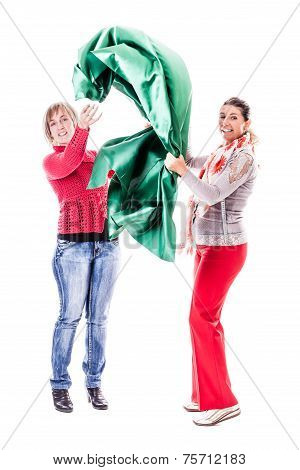 Women With Green Silk
