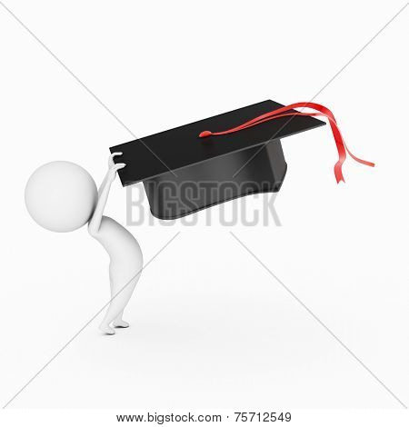 little 3d guy is waving his graduation hat